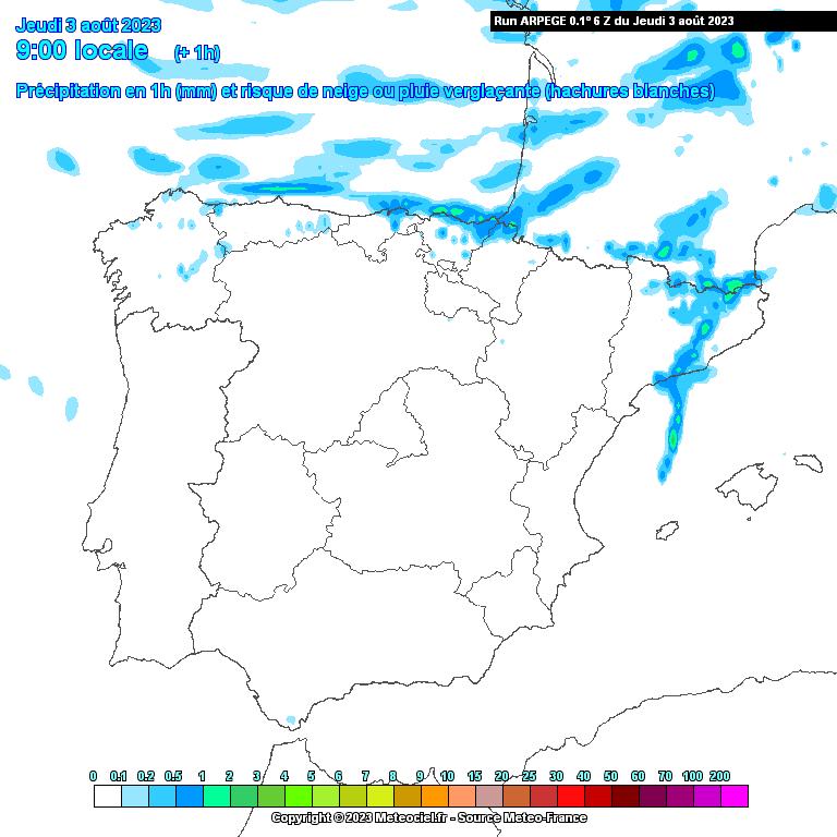 imatge del Model ARPEGE (FR) - Pluja